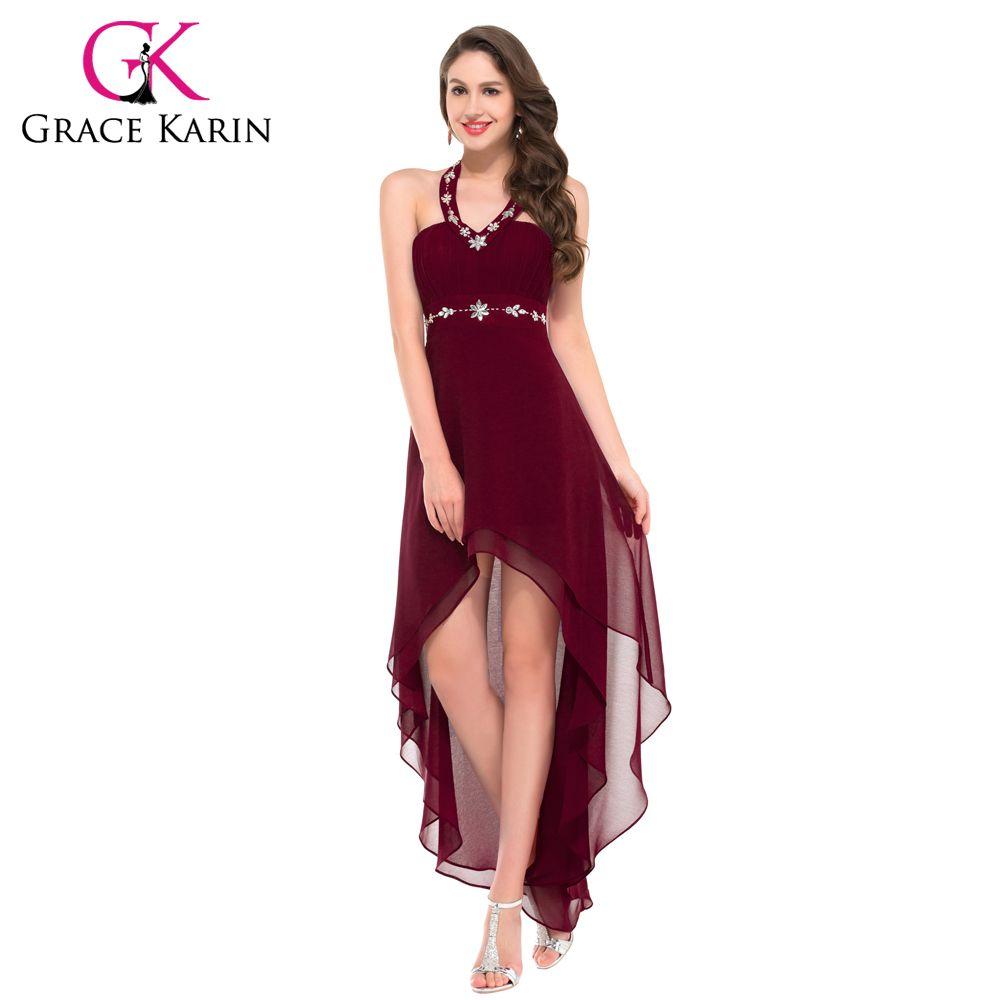 Grace Karin Sexy Halter Black Powder Blue Wine Red Burgundy Prom ...