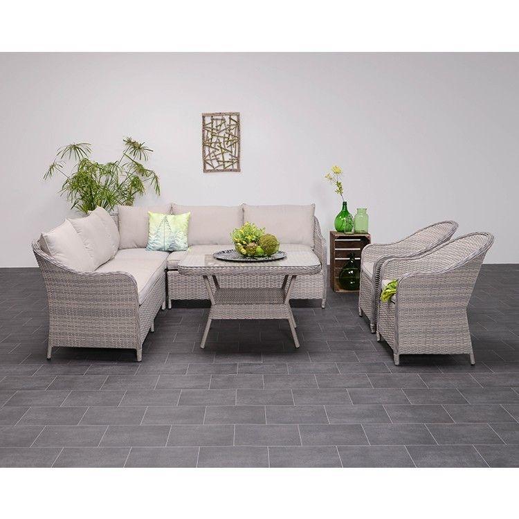garden impressions boston 4 delig lounge dining set grijs wicker tuinmeubelland lounge. Black Bedroom Furniture Sets. Home Design Ideas