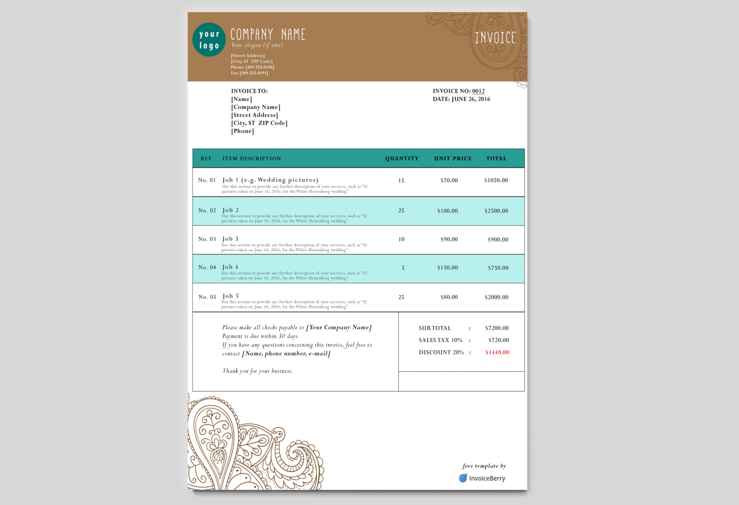 Our New Paisley Tattoo Free Psd Invoice Template Has A Great Earthy But Professional Look Invoice Template Invoice Design Invoicing
