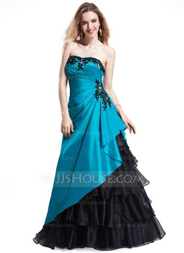 7f347844864   162.99  A-Line Princess Sweetheart Floor-Length Taffeta Organza Prom  Dresses With Beading Appliques Lace Cascading Ruffles (018025298)