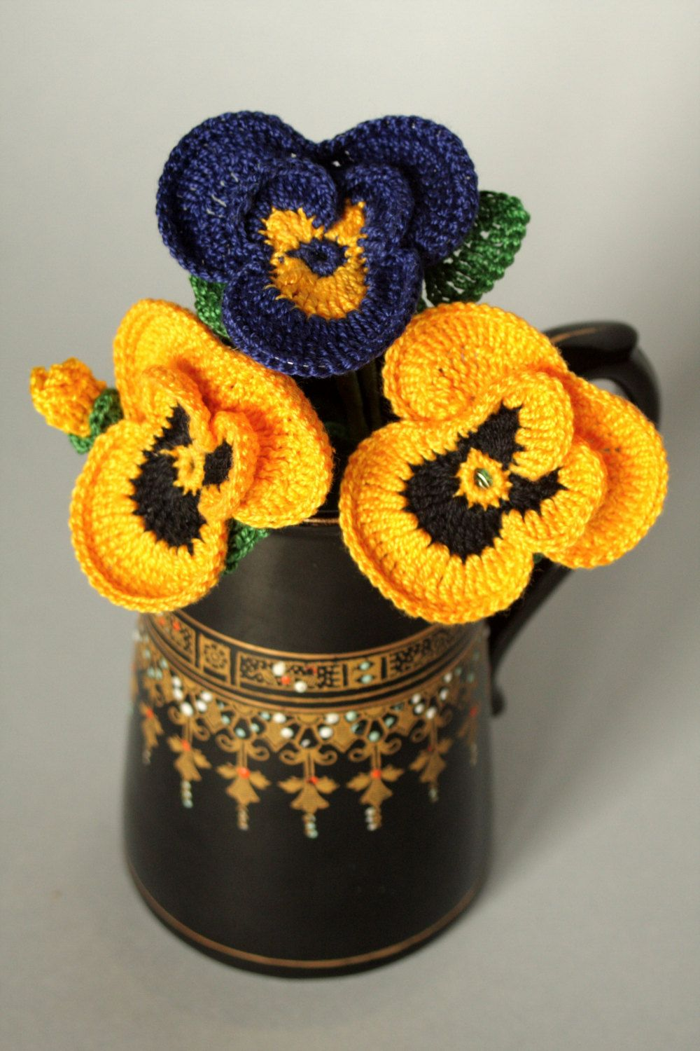 Crochet pansies flowers for any occasion. by DecorAnna on Etsy ...
