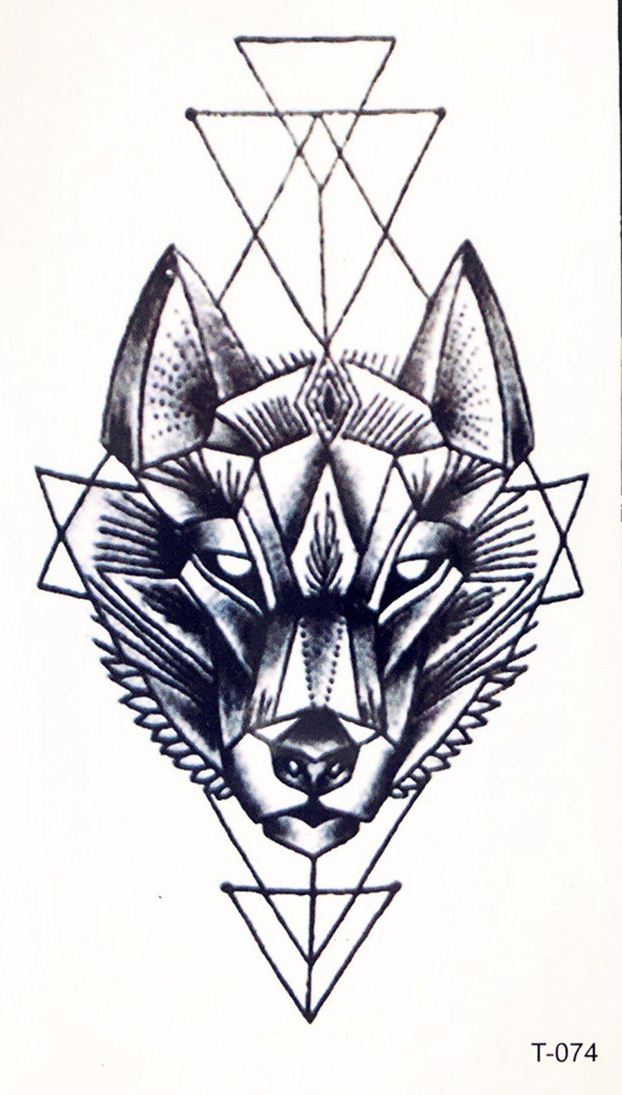 Lupa Small Black Geometric Wolf Spirit Animal Temporary Tattoo Tribal Wolf Tattoo Geometric Wolf Wolf Spirit Animal