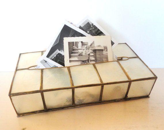 1970's Capiz Shell Tissue Box by OurShabbyCottage on Etsy