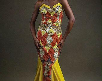 robe longue imprim africain m lang avec tissu cr pe jaune v tements africains robe de soir e. Black Bedroom Furniture Sets. Home Design Ideas