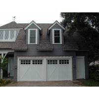 One Double Garage Door Painted White Square Top With Windows Vertical V Groove Half Buck A Pattern Simulated Garage Doors Garage Door Paint Door Design