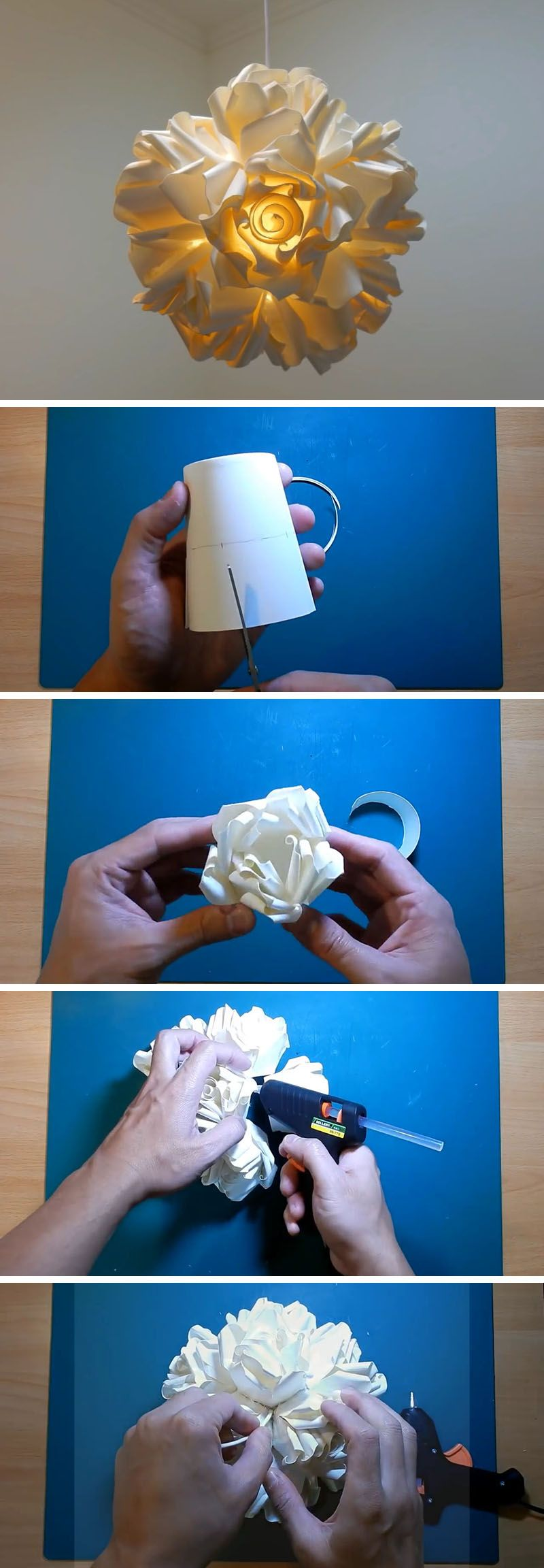 Create This DIY Rose Pendant Lamp From Paper Cups Paper