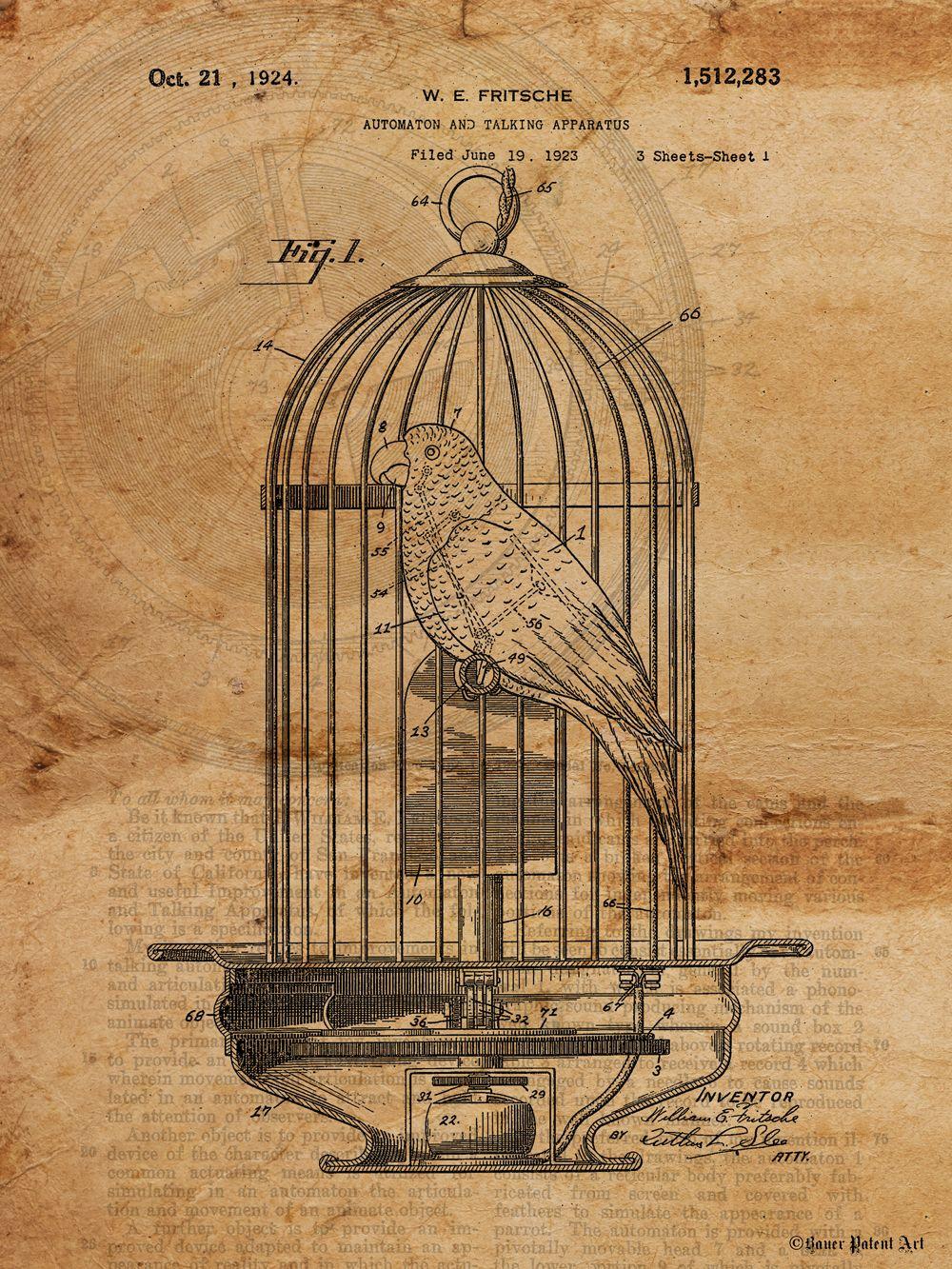 Vintage Patent Art Drawing Of Mechanical Bird In Birdcage Patent Art Patent Drawing Patent Art Prints