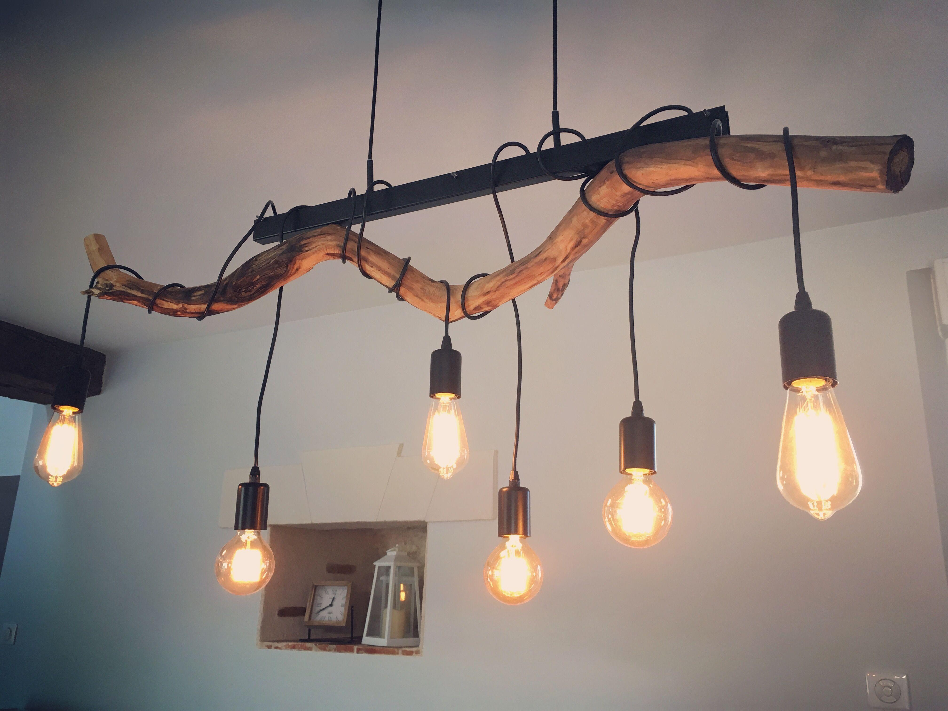 DIY Suspension Bois Métal Ampoules Filaments Style