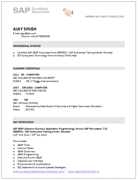 a good resume template of a sap consultant with be in computer u0026 39 s technology