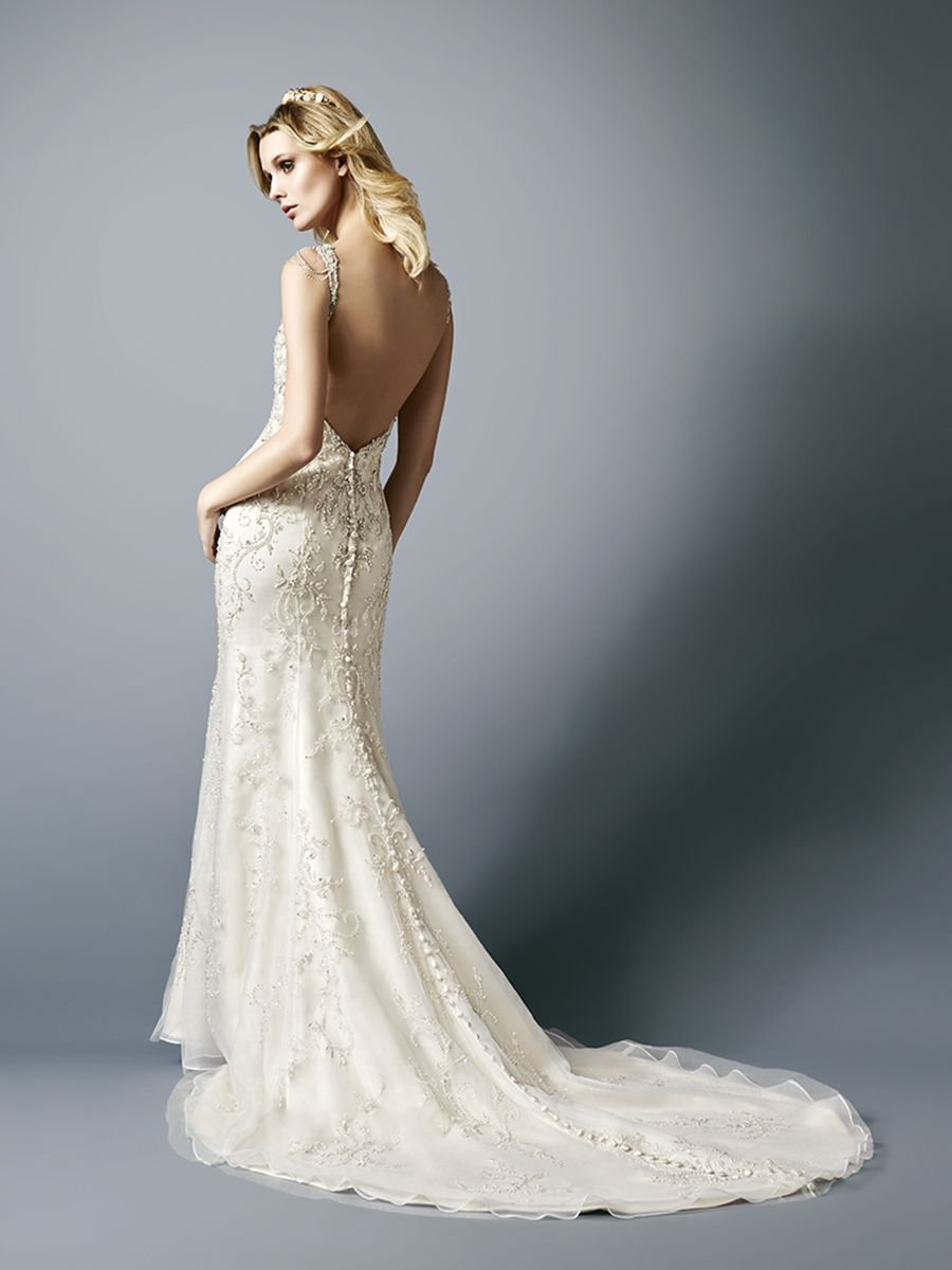 SOFT DECADENT BEADED BRIDAL GOWN WITH BEADED CAP SLEEVES AND LOW ...