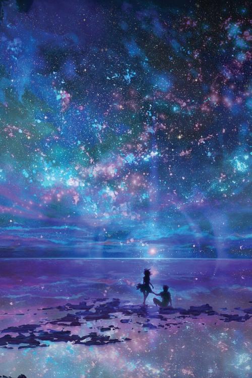 Galaxy Http Epictio Com And Girl Blue Pemandangan Anime Pemandangan Fotografi Alam