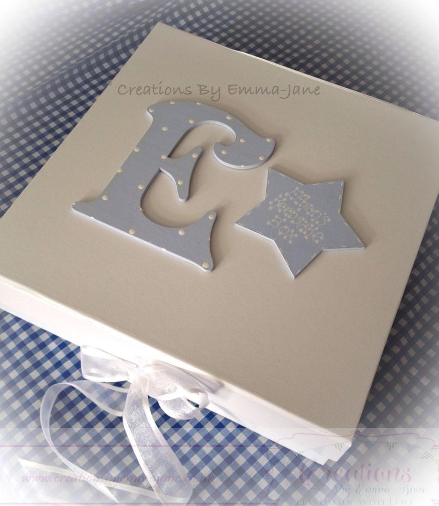 Personalised Keepsake Box Memory Large Wooden Star Letter