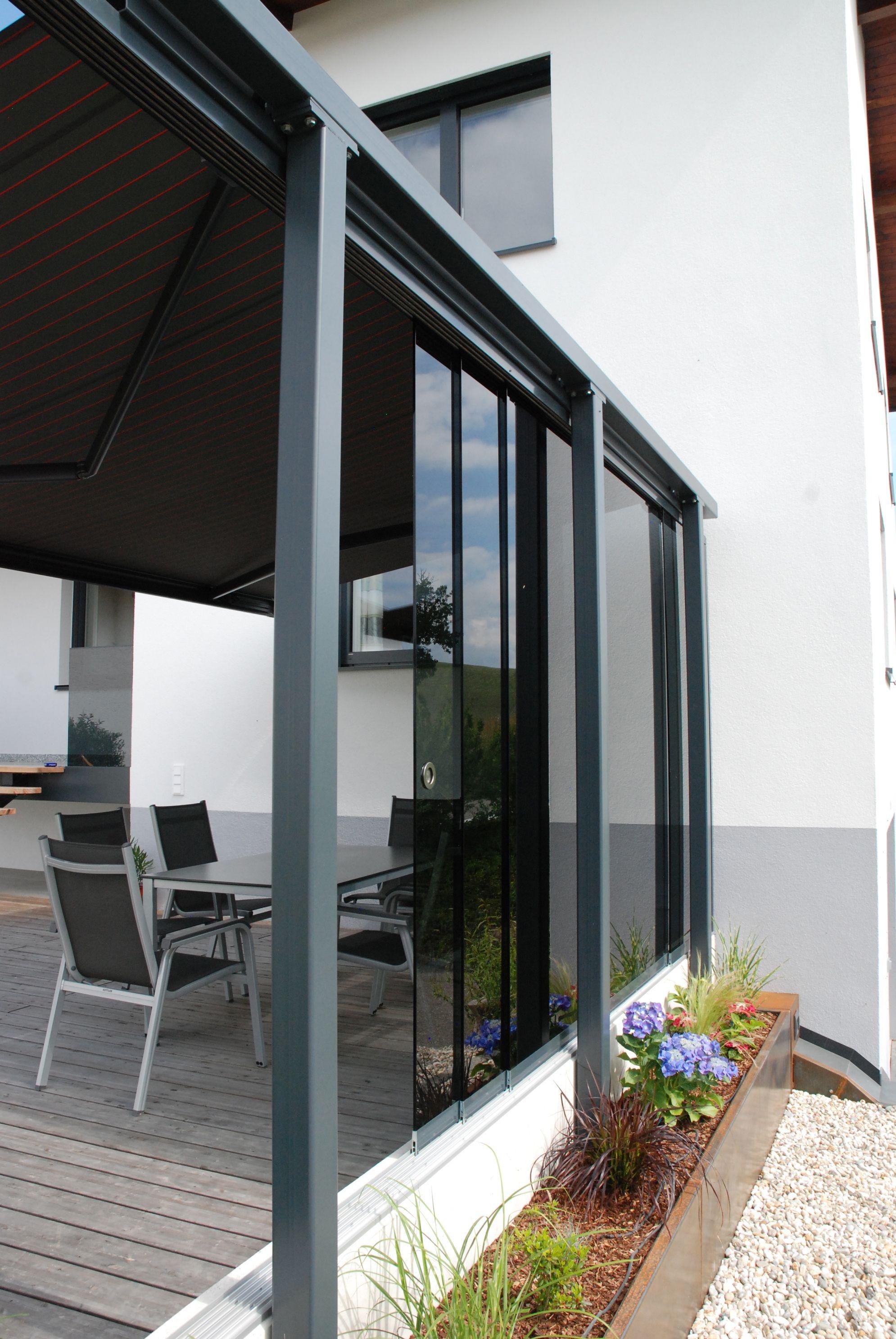 Terrassen Windschutz Mit Freistehender Konstruktion Schiebewand