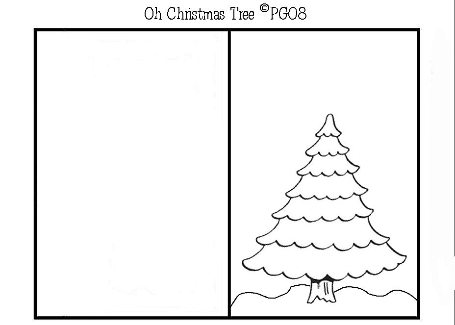 christmas tree card template paper craft themed card templates