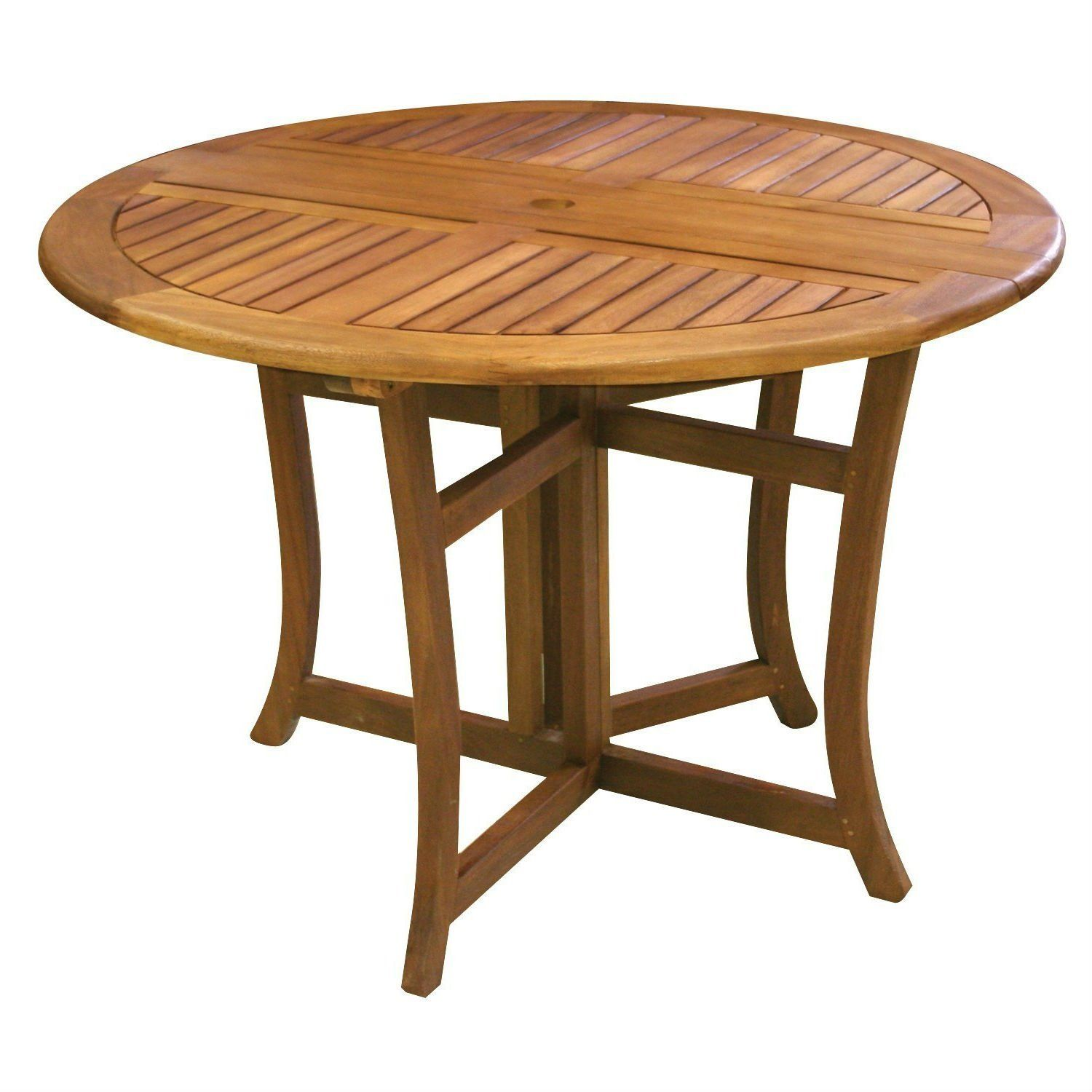 Outdoor Folding Wood Patio Dining Table 43 Inch Round With Umbrella