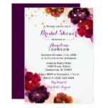 Purple Cranberry Orange Gold Floral Bridal Shower Card
