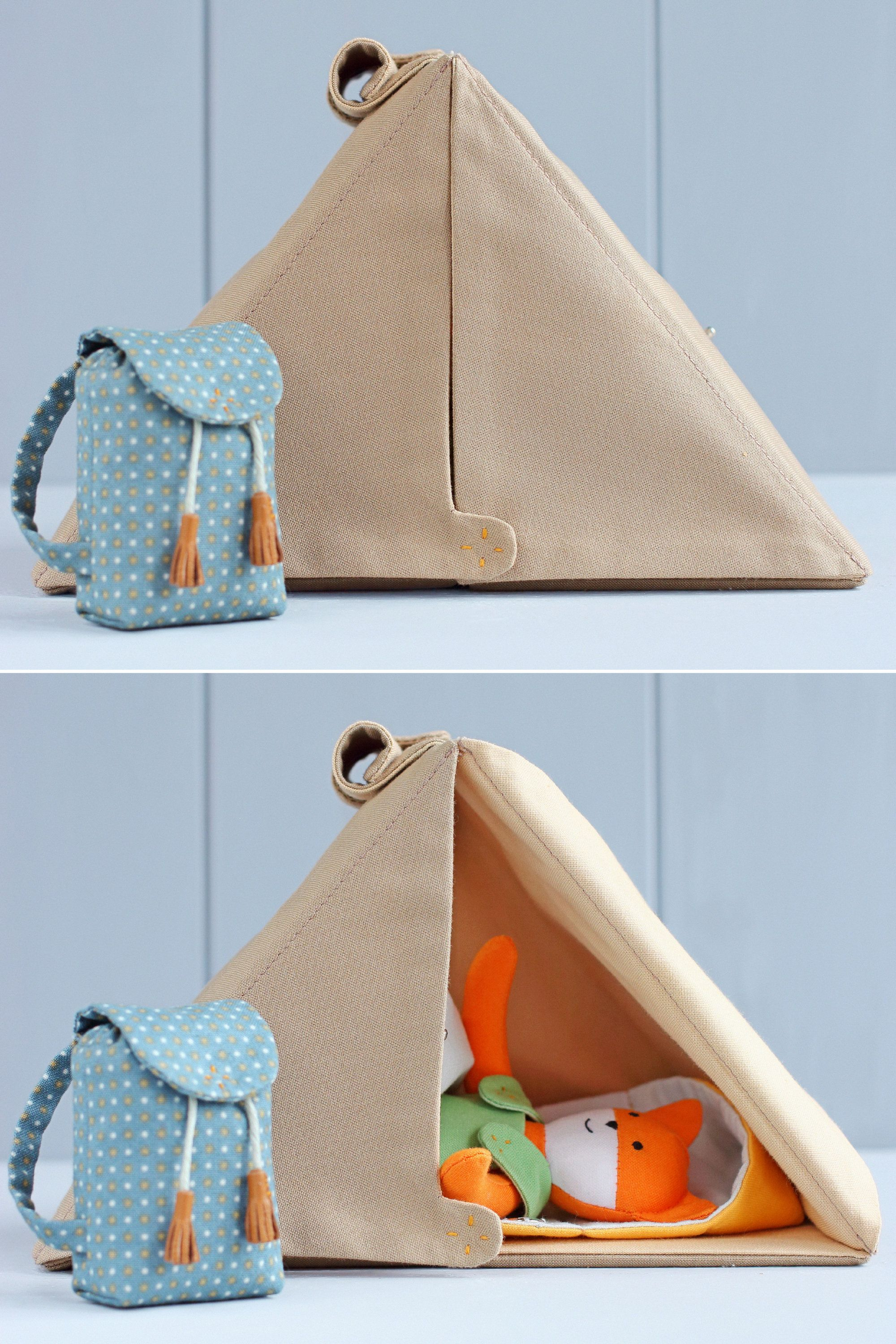 2 PDF: Mini Fox + Camping Set for Mini Doll (Camping Tent, Backpack, Sleeping Bag) Sewing Pattern — DIY Animal Stuffed Doll, Play Set