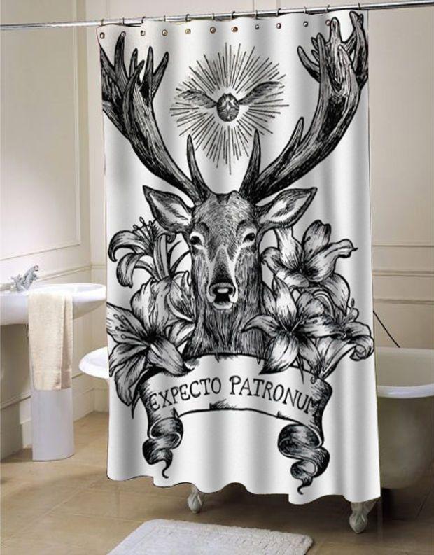 Expecto Patronum Deathly Hallows Harry Potter Shower Curtain
