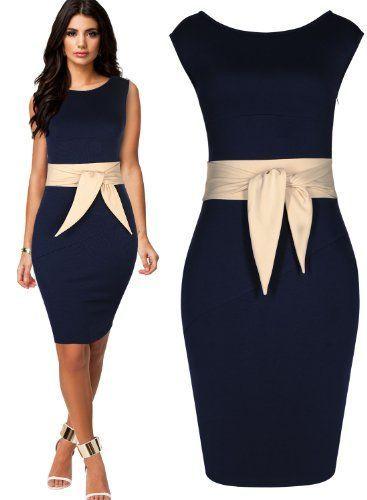 Miusol Womens Scoop Neck Elegant Pencil Bodycon Dresses Miusol ...