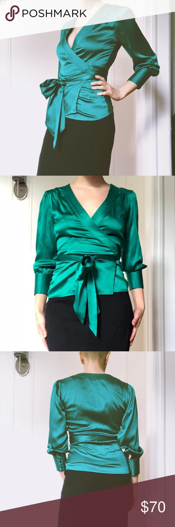 81b686992914 Diane vin Furstenberg silk Ariana top green size 2 Emerald Diane von  Furstenberg silk Ariana wrap
