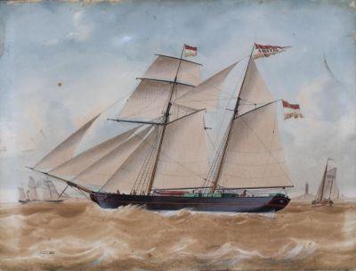 J.Spin, aquarel, klipper aquarel,  volgetuigde klipper 'de Amstel' op de reede van Texel