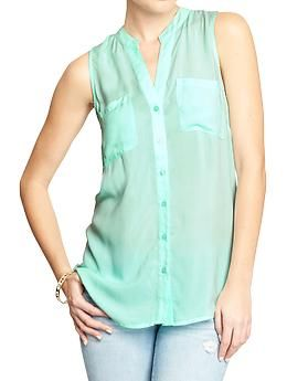 Womens Sleeveless Button-Front Tops, in small/tall in mint and peri