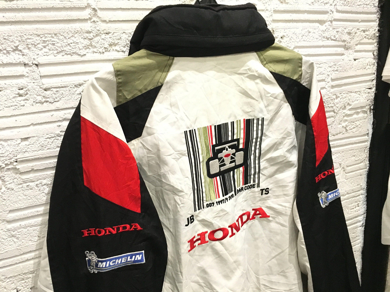 Vintage Honda Jacket Hooded Windbreaker Racing Jacket Embroidered Big Logo Multi Color Honda Racing Team Jacket Size Xl Good C Team Jackets Windbreaker Jackets