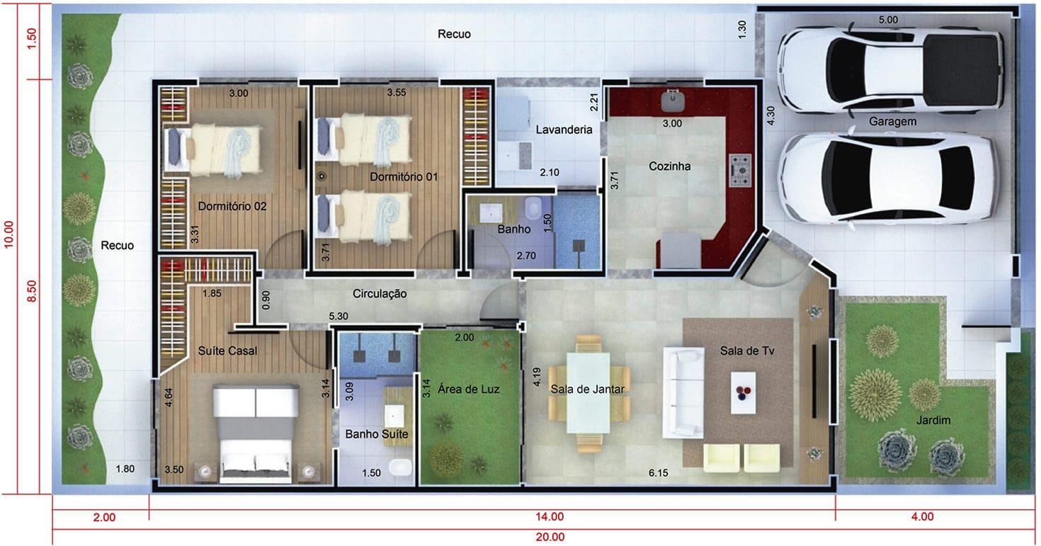 Plano de casa moderna de un piso in 2019 planos y for Casa moderna 7x20