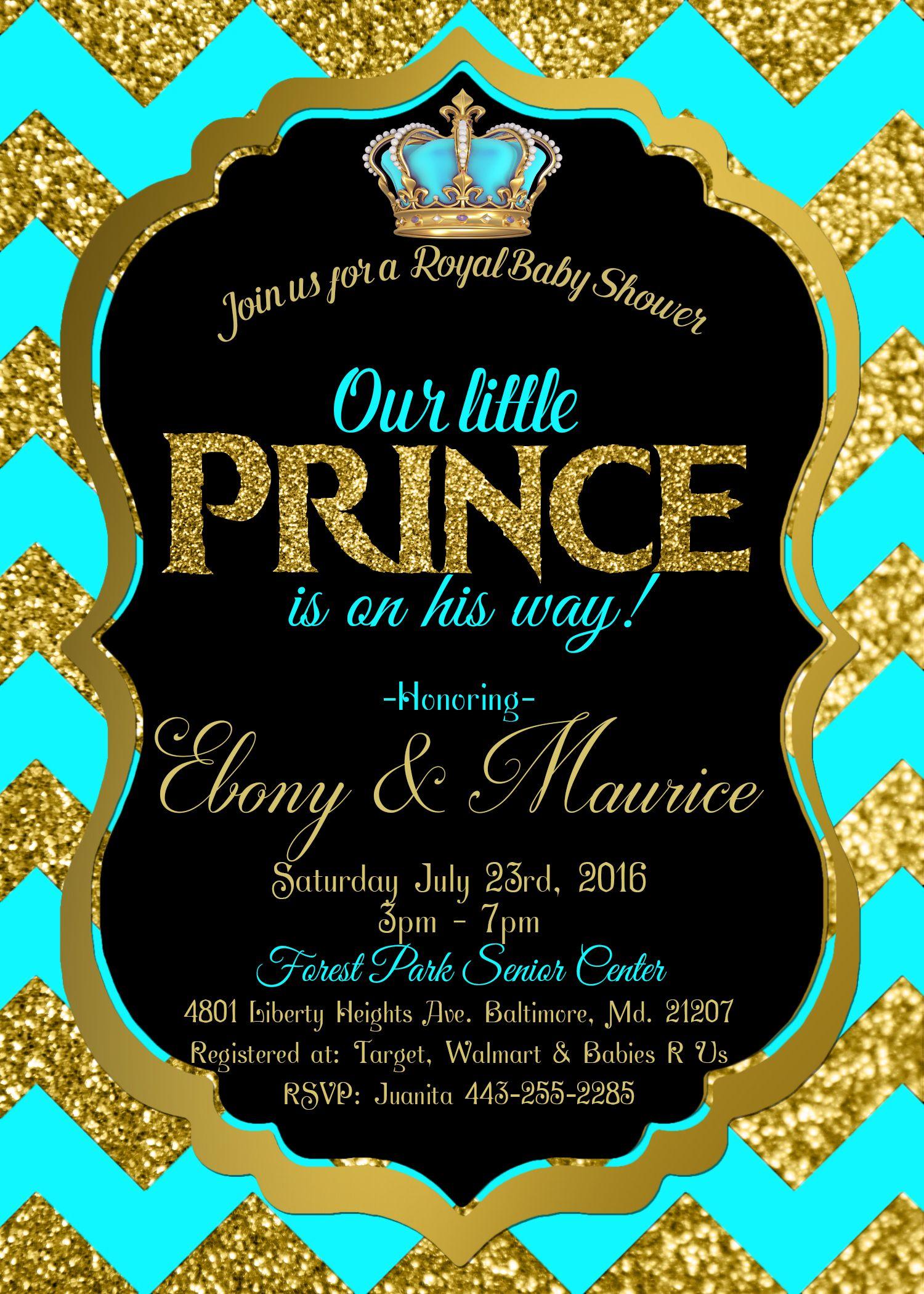 Royal Baby shower invitation Royal prince Teal | Royal Prince Themed ...