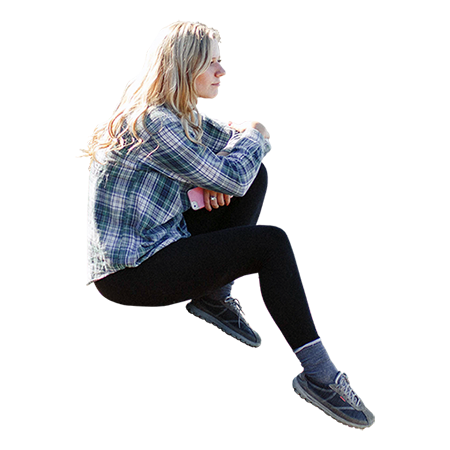Cutout Image Of A Blonde Girl Sitting On A Rock She S Thinking How Nice It Would Be If She Could Be In Your Ren People Cutout Render People People Sitting Png