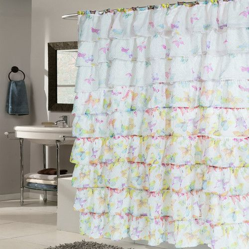 Found it at Wayfair - Butterfly Crushed Voile Ruffled Tier Shower Curtain