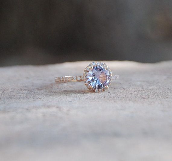 engagement on ring rings shop diamond rose round wanelo lavender peach sapphire champagne gold