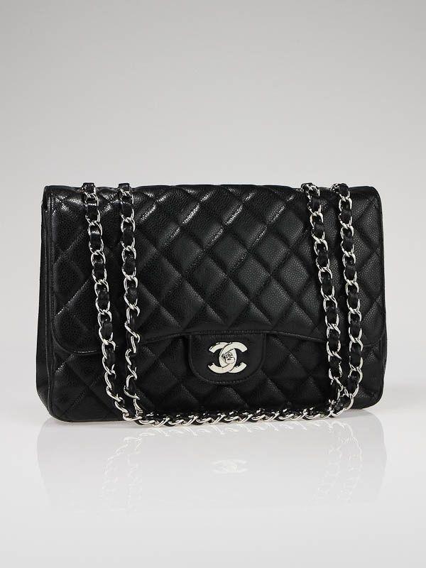 ea97baf38060 Chanel Black Quilted Caviar Leather Jumbo Classic Flap Bag