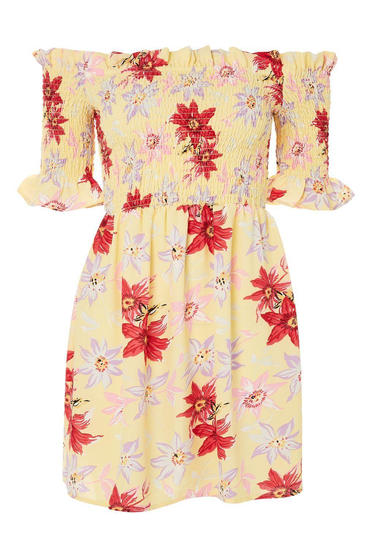 Lemon Floral Bardot Dress - New In Fashion - New In
