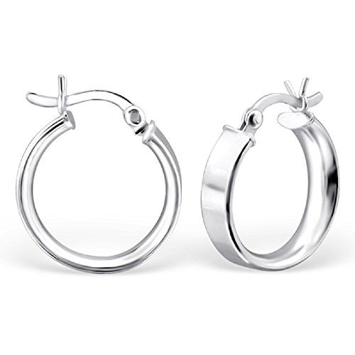 925 Sterling Silver 16mm Thick French Lock Hoop Earrings 23905