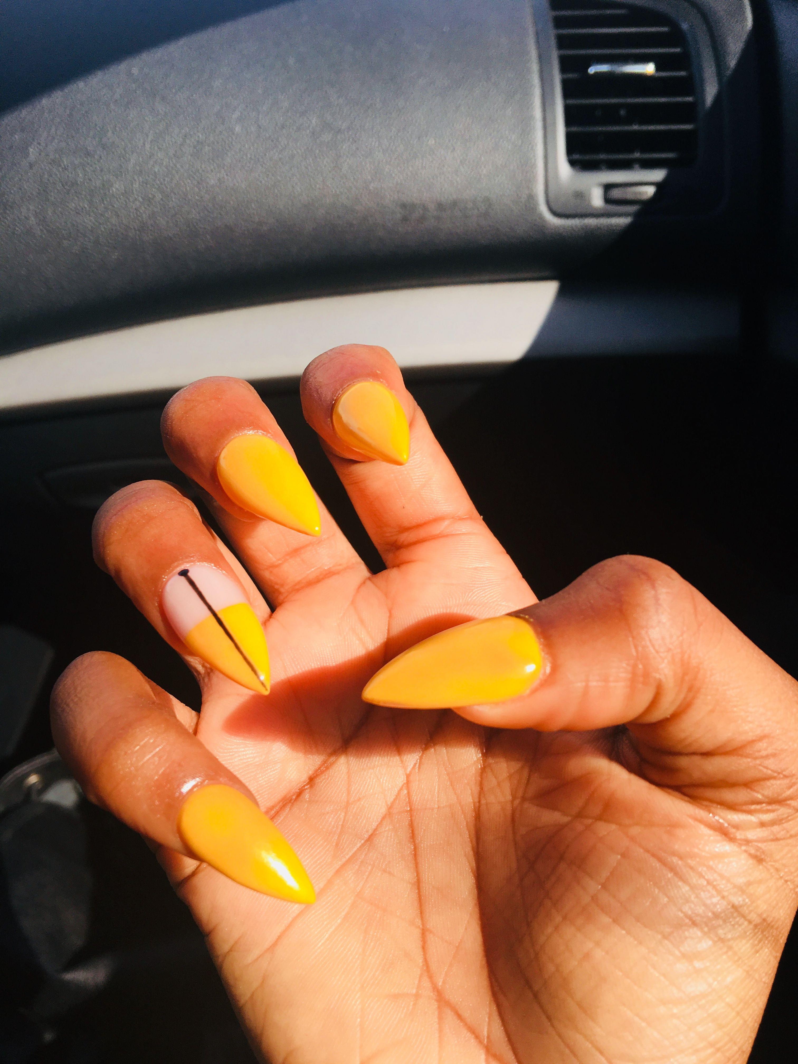Mustard Yellow Acrylic Nails Shvaisimone