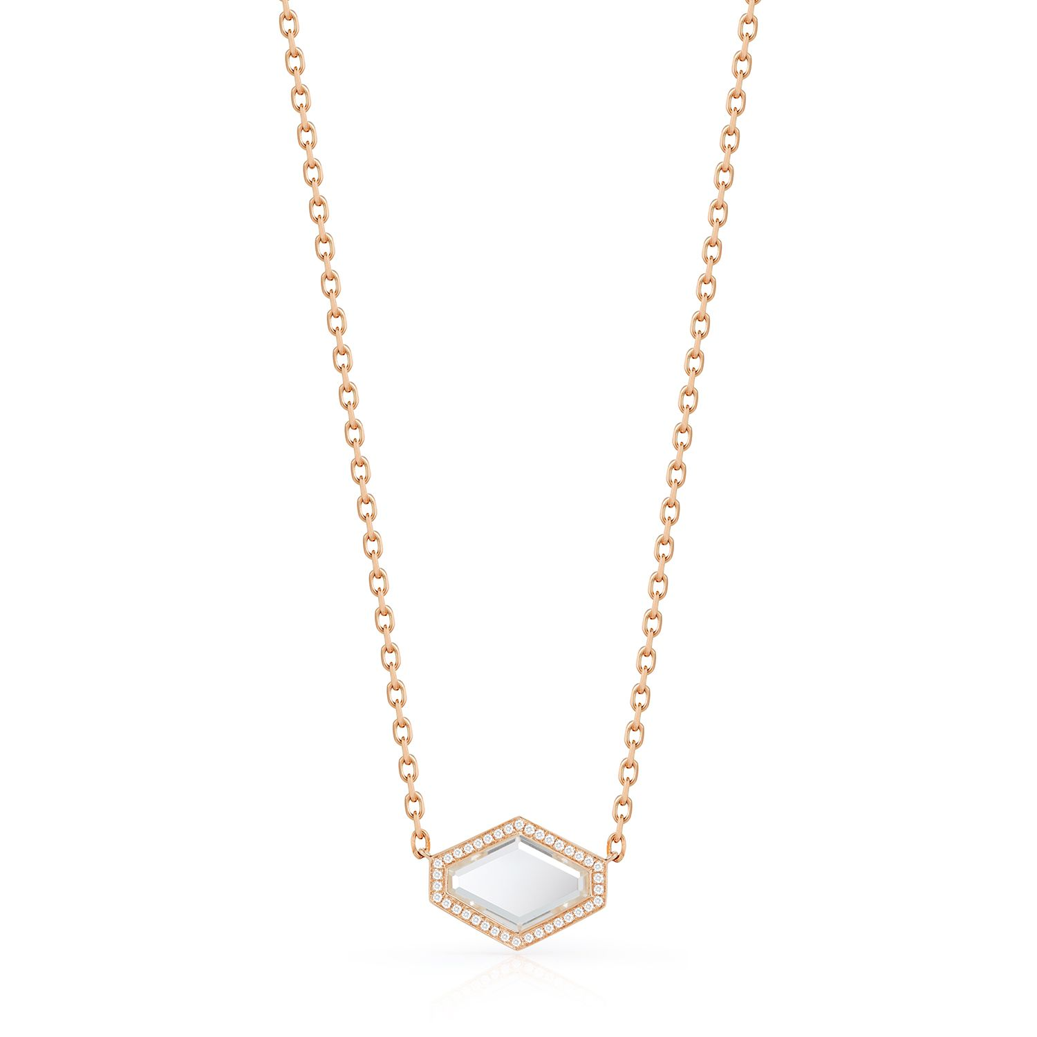 Bell 18k rose gold diamond and rock crystal hexagon necklace bell 18k rose gold diamond and rock crystal hexagon necklace engraveable mozeypictures Gallery