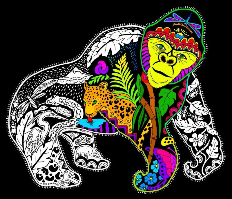Gorilla - Fuzzy Velvet Coloring Poster - Inner Nature Fuzzy Posters, Coloring  Posters, Dark Ink