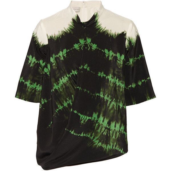 Stella McCartney Draped tie-dyed silk-crepe top (4 475 SEK) ❤ liked on Polyvore featuring tops, emerald, stella mccartney, loose fit tops, drape top, stella mccartney top e drapey top