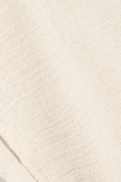 Off-white Leather-trimmed fringed cotton-gauze skirt | Caravana