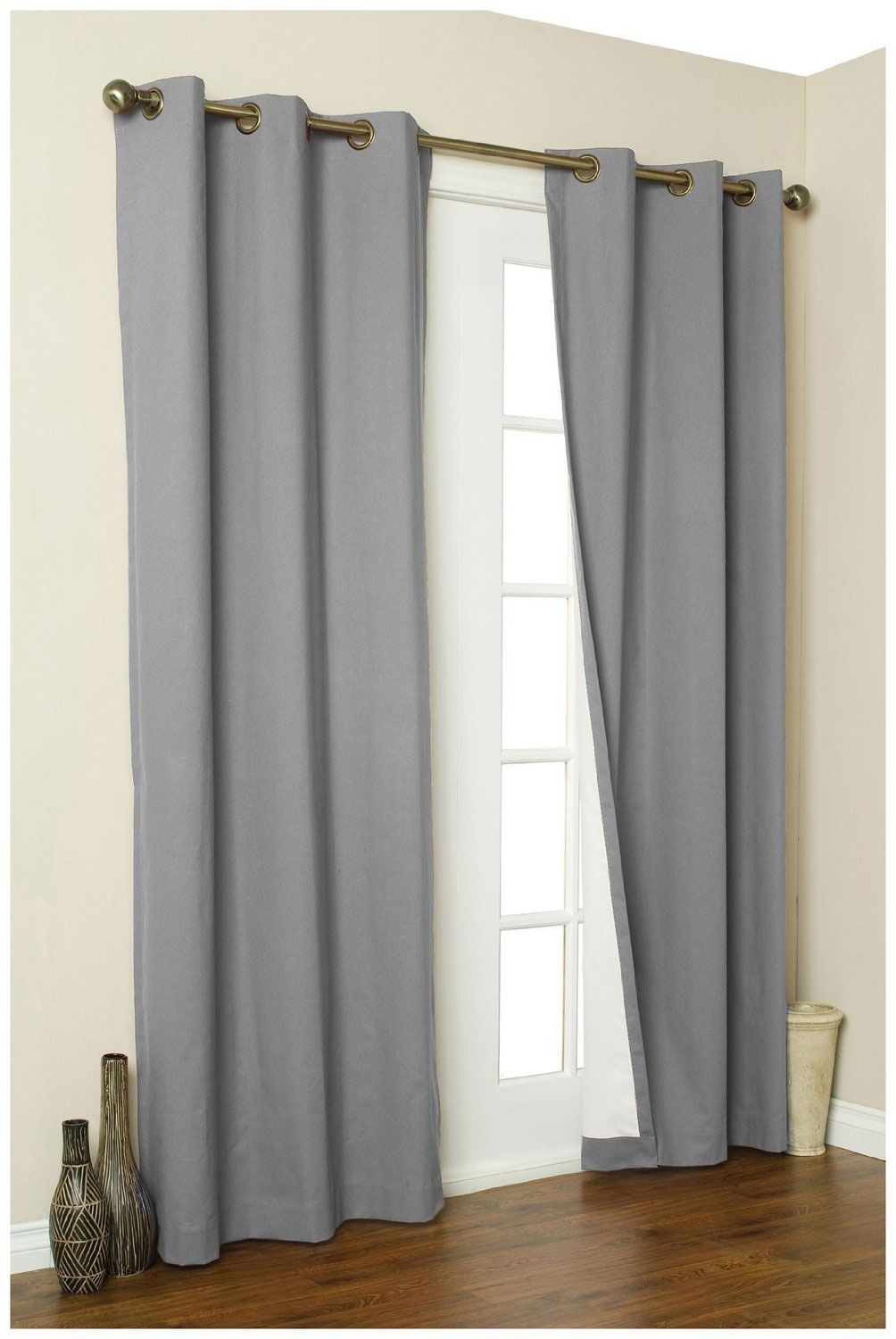 french door curtain ideas: simple grommet curtains for french door