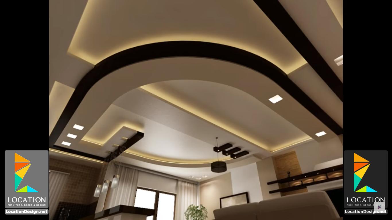 ديكورات جبس اسقف راقيه 2018 تصميمات جبسيه للشقق المودرن لوكشين ديزين نت Plafond Design Ceiling Design Living Room Ceiling Design