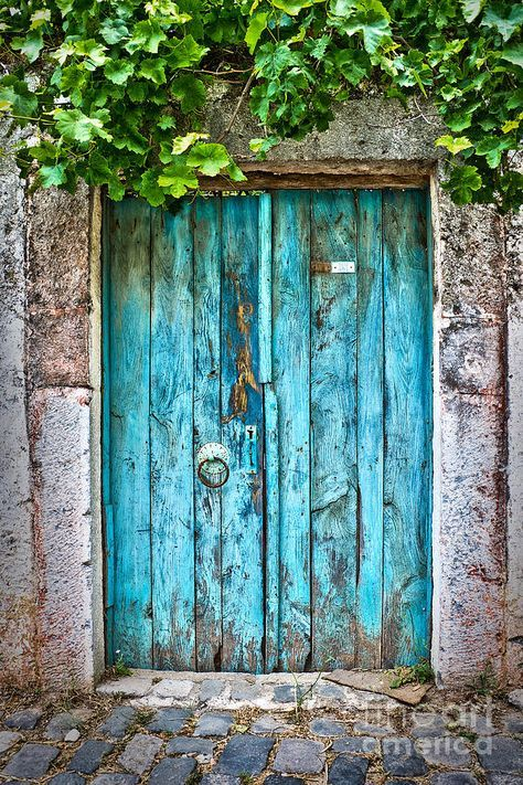Old blue door by Delphimages Photo Creations