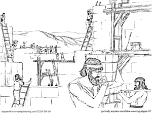 Nehemiah Rebuilding The Wall Coloring Pages
