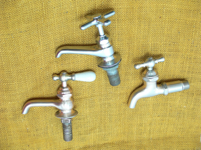 Vintage faucet lot-old chrome spigot-industrial bathroom-steampunk ...