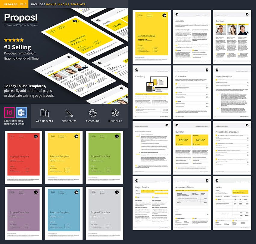 Professional Business Proposal Template Design Editorial - Free Sample Business Proposals
