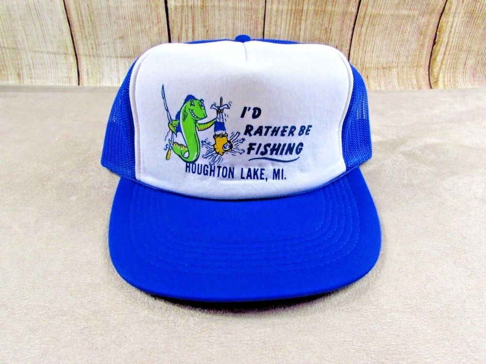 Houghton Lake Snapback Hat Fishing Vintage