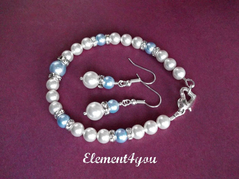 Something Blue. Wedding Jewelry. Bracelet Earrings Set. Bridesmaid gift. Swarovski blue white pearls. Bridal party Gift. Pearl Jewellery. $22.95, via Etsy.