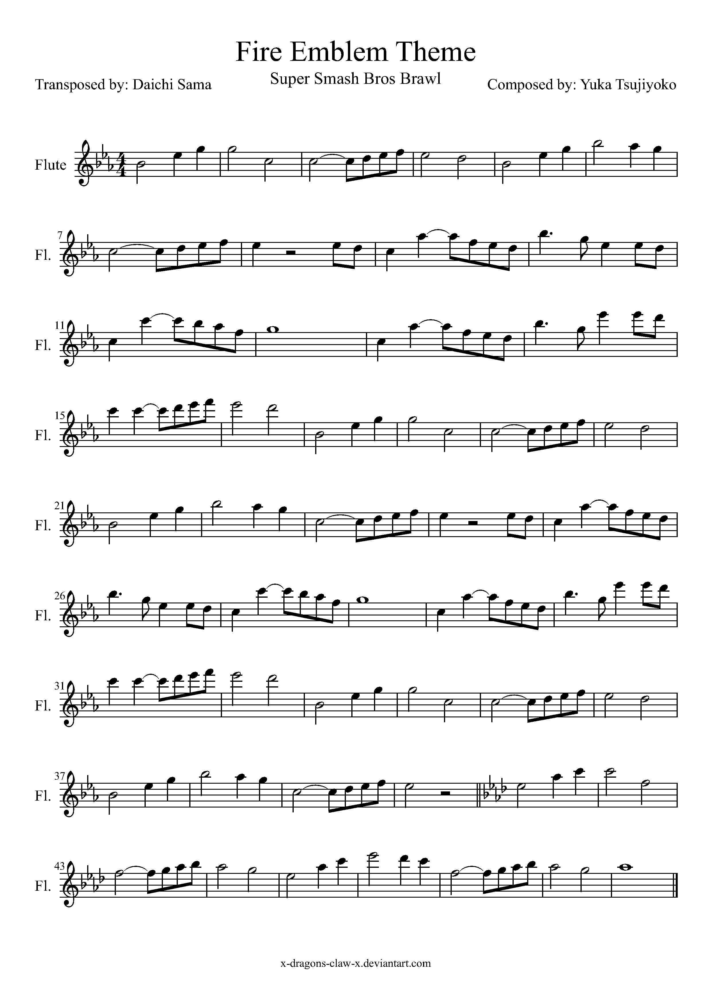b657e4933867a63c98a7c557081cce9a ssbb fire emblem theme flute sheet music by drakon thedragon,Flute Meme Song
