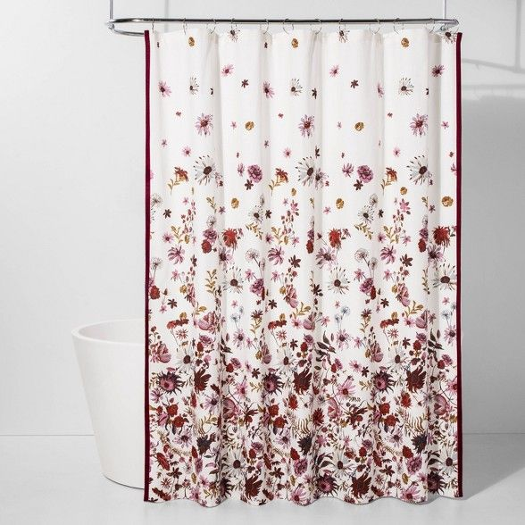 Creeping Floral Shower Curtain Pink White Threshold Target